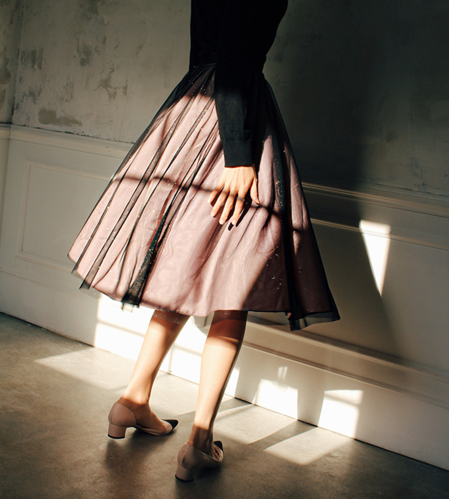 black dirty rose two-tone skirt