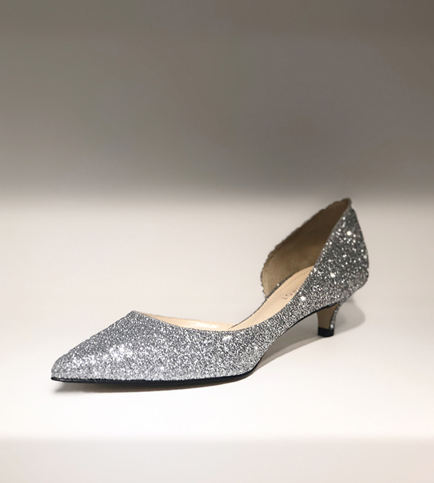 silver champagne heel