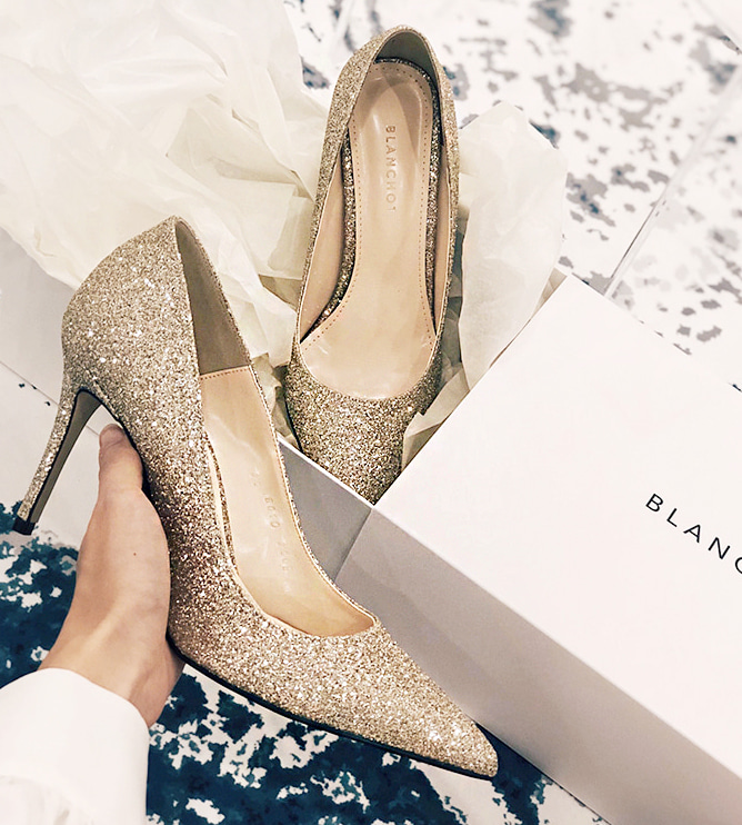 gold champagne heel