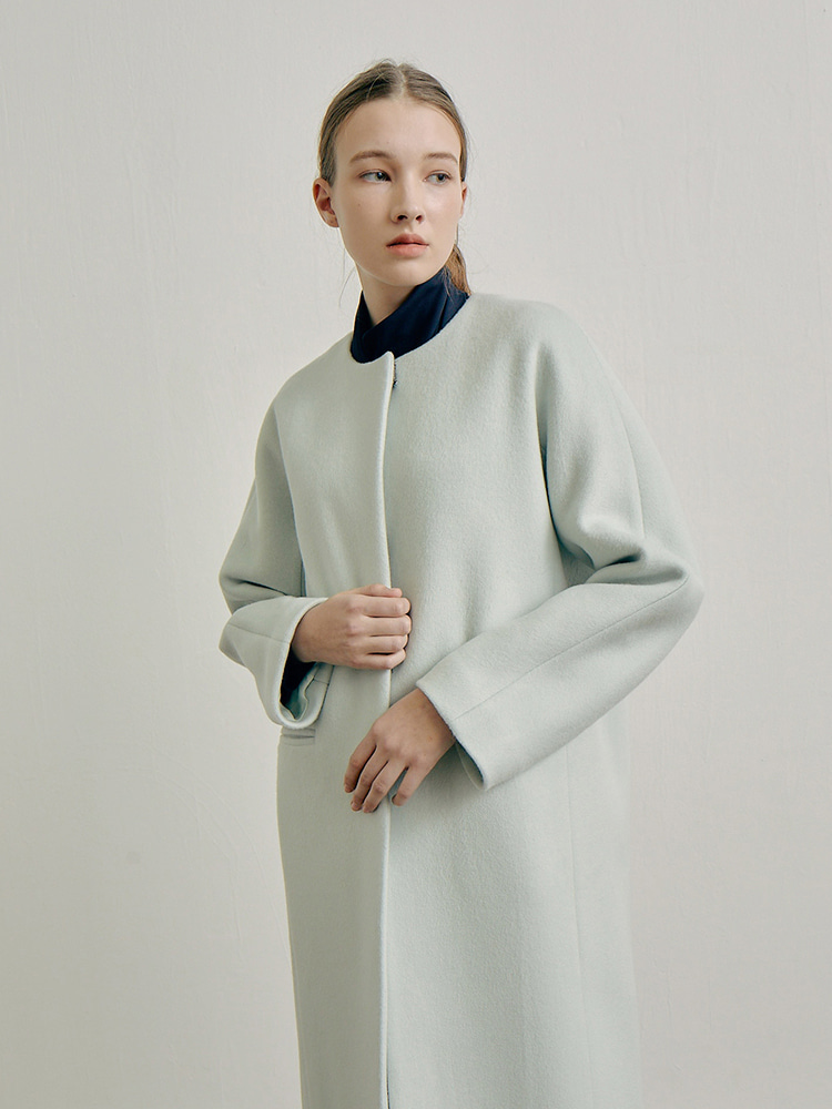 fine wool coat_mint grey