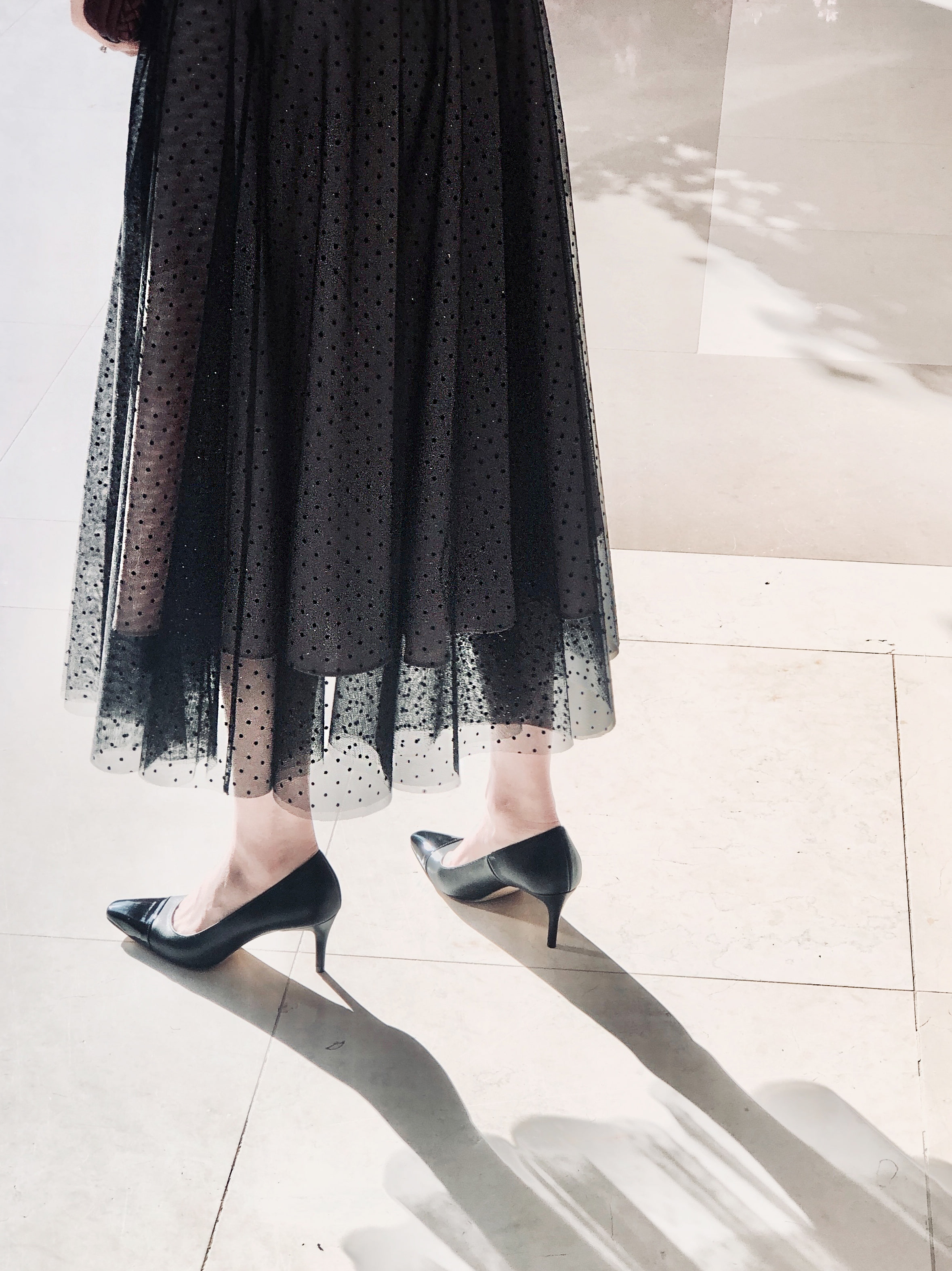 dot black tulle skirt