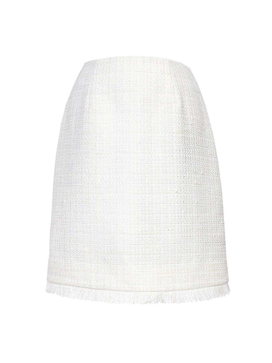 NY white tweed set-up skirt