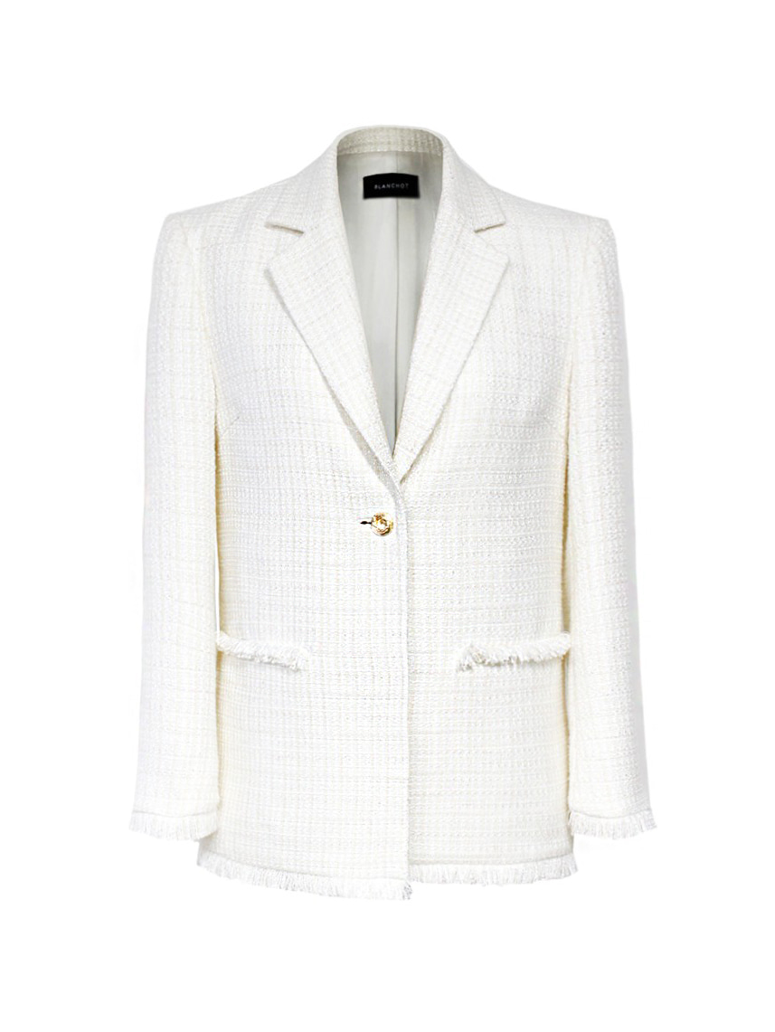 NY white tweed set-up jacket