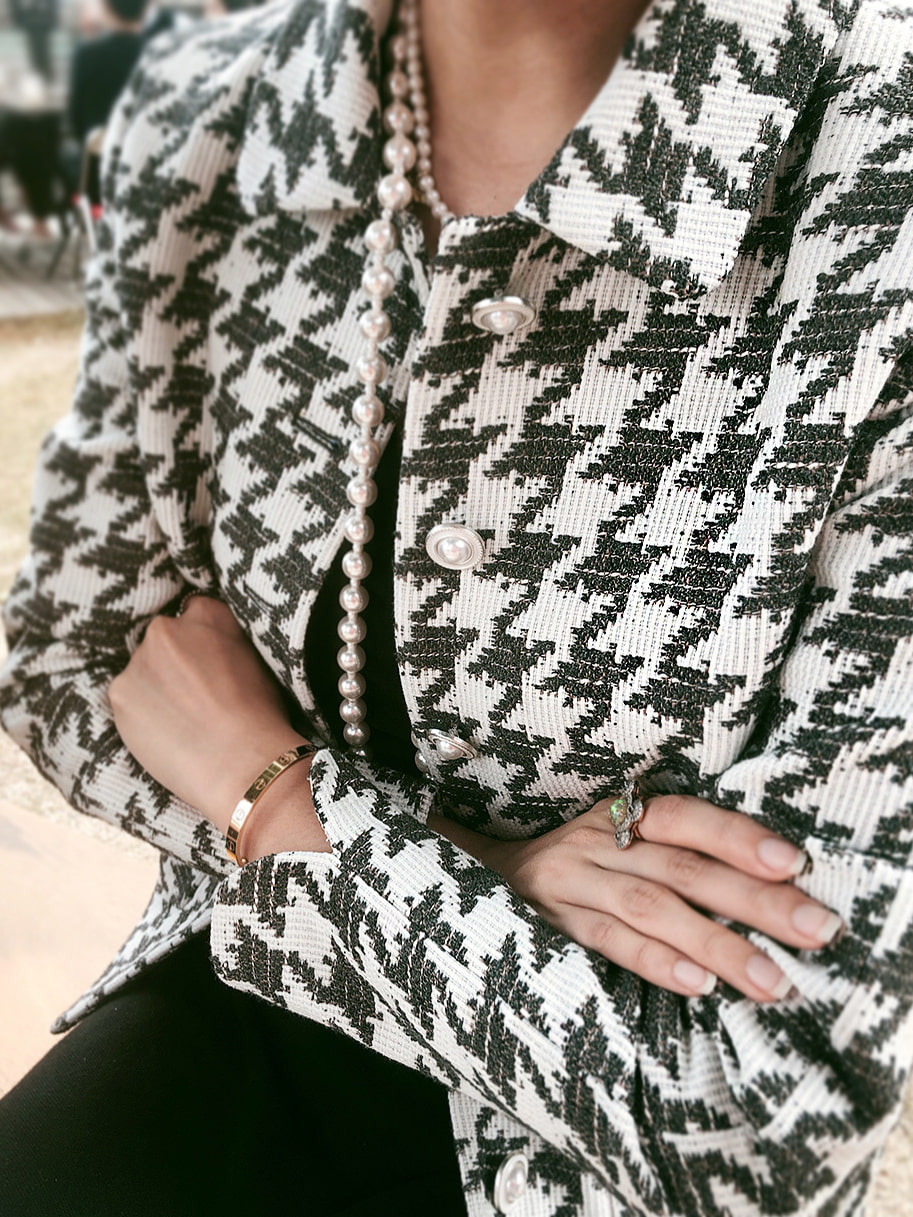 925 Silver & Pearl Houndtooth Jacket