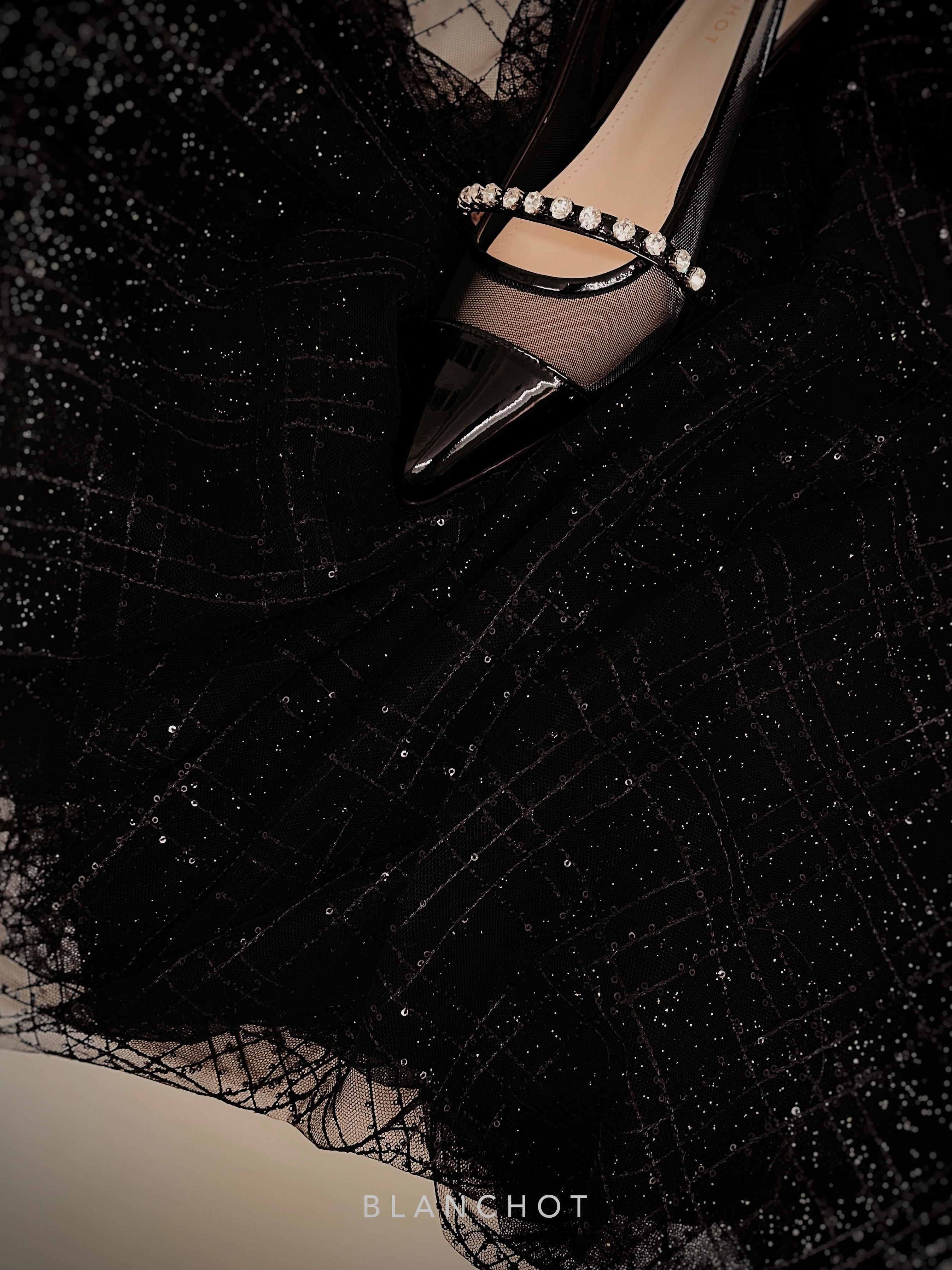 beads lace tulle - black